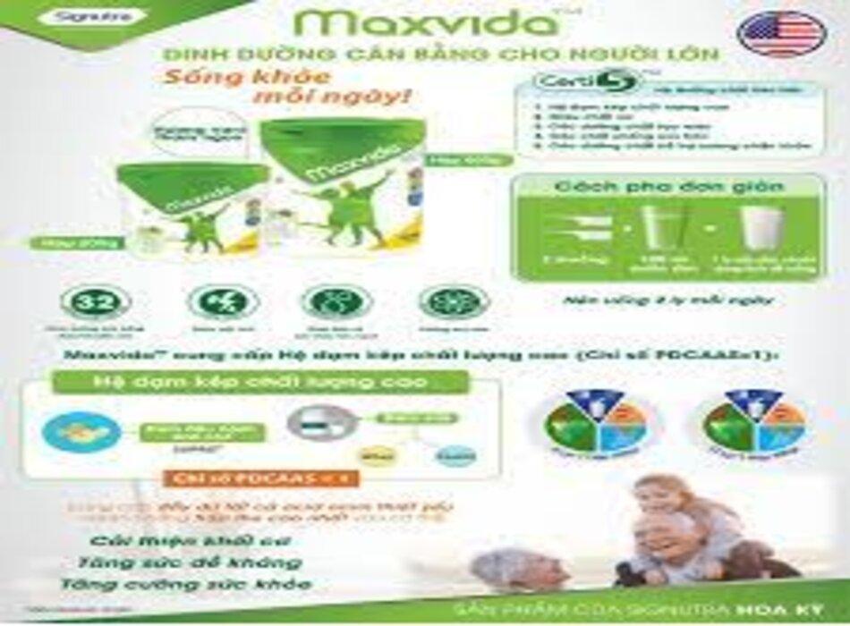 Mỗi ngà 2 ly sữa Maxvida giúp tăng cường sức khỏe người lớn tuổi