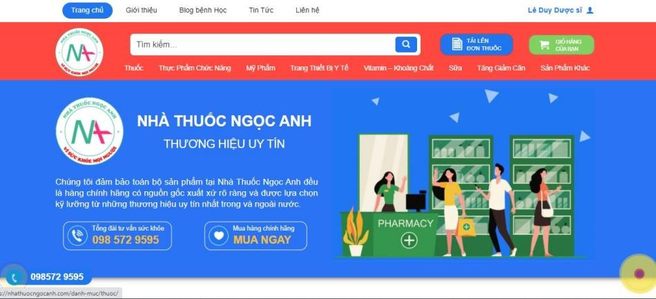 Trang chủ của website nhà thuốc Ngọc Anh